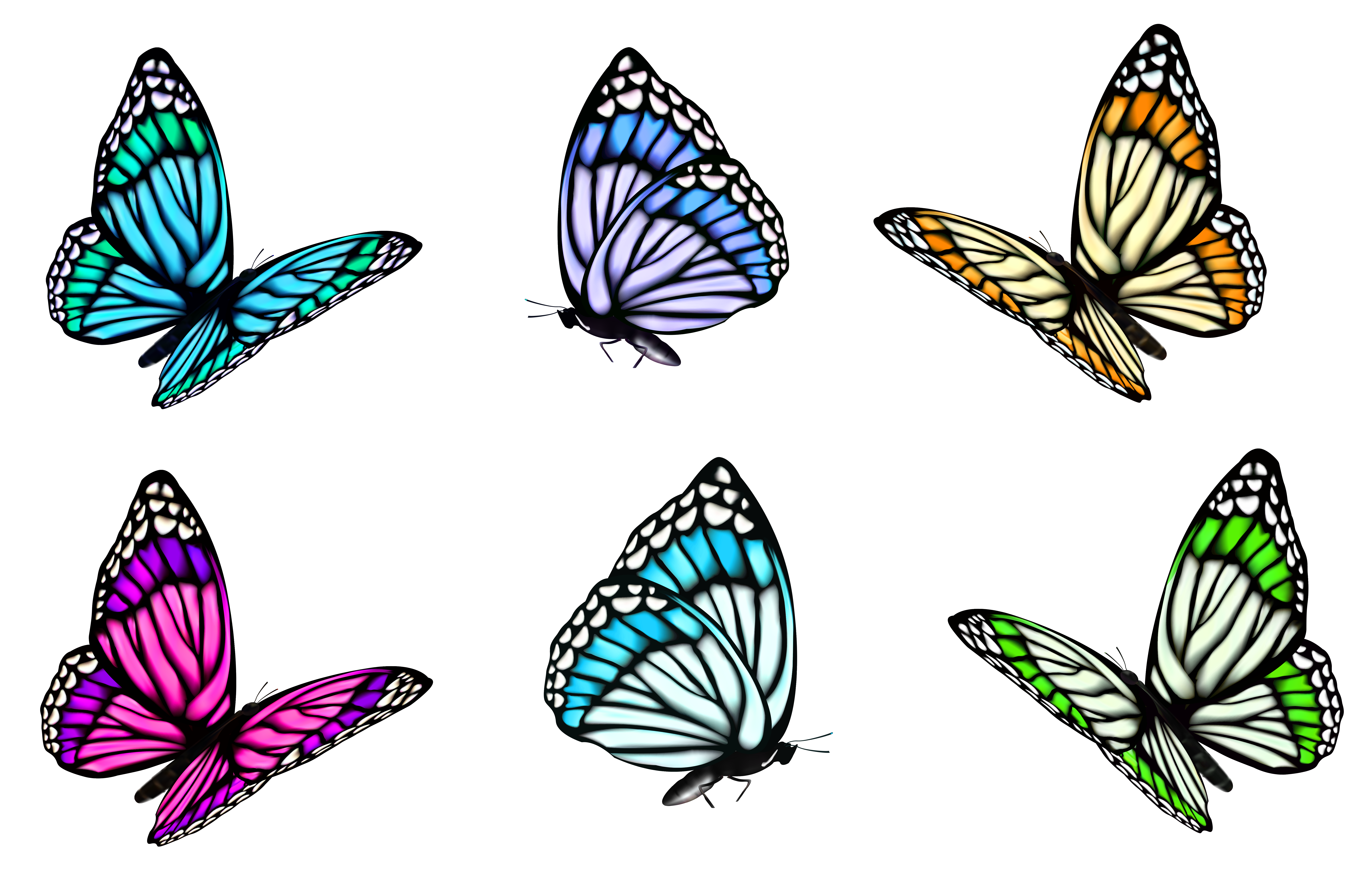 graphic black and white library Butterflies clipart. Transparent butterfly set png.