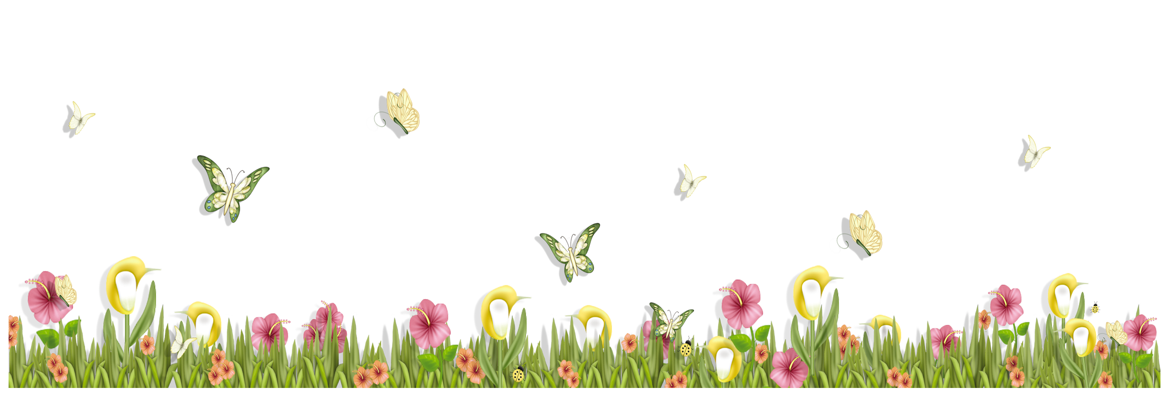 clip art freeuse Butterflies clipart banner. Grass with and flowers.
