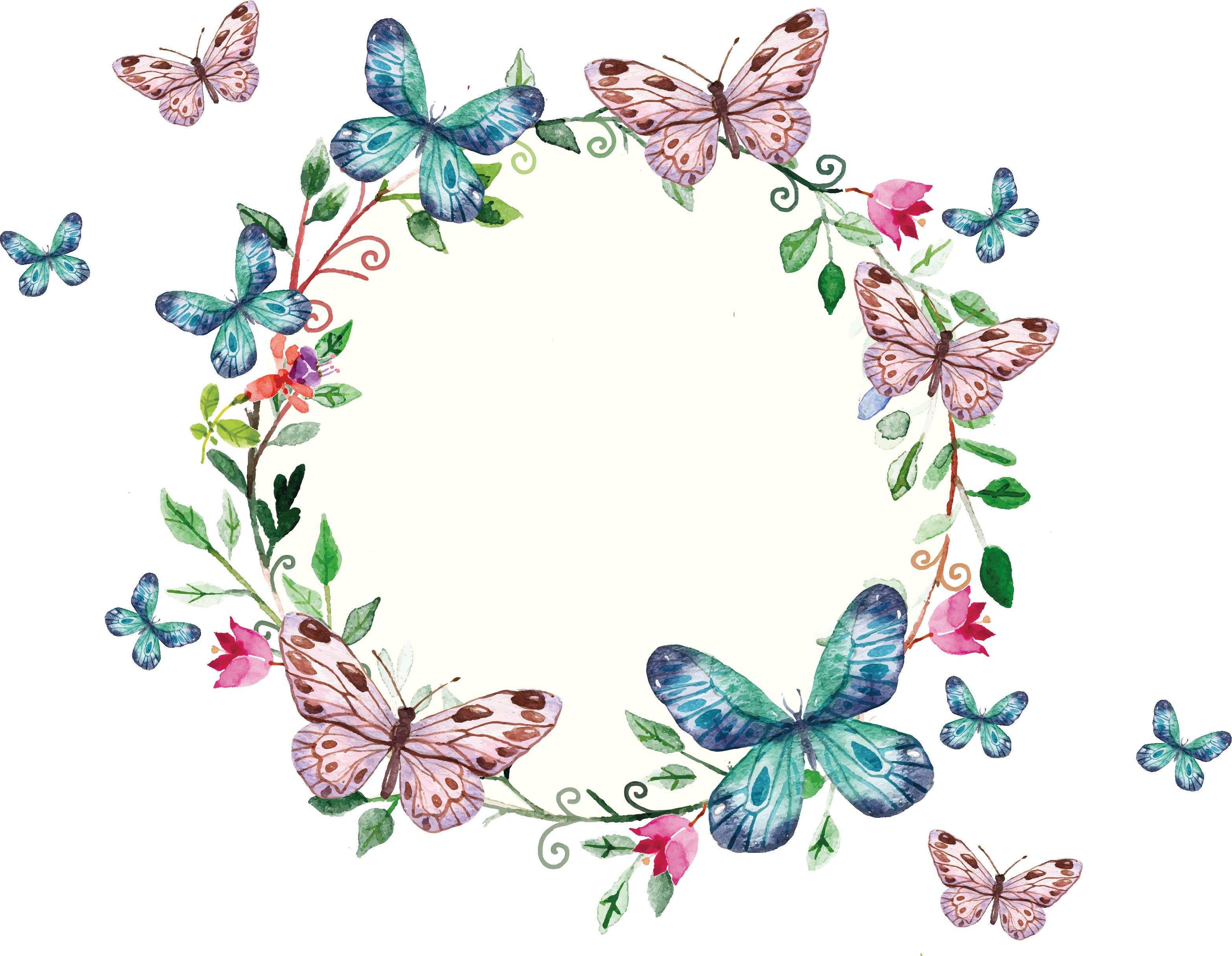 clipart library Butterflies clipart banner. Freepi com floral wreath.