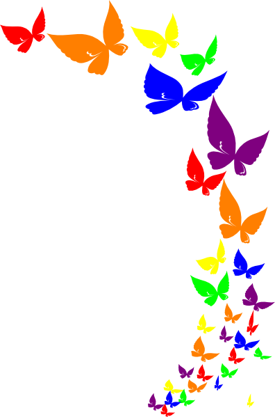 png black and white Butterflies clipart banner. Rainbow butterfly clip art.