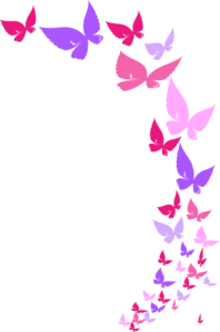 jpg stock  collection of rainbow. Butterflies clipart banner.