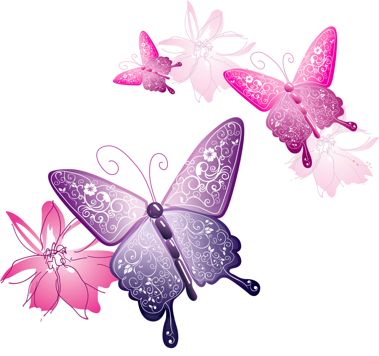 banner black and white library Transparent butterfly decorative gallery. Butterflies clipart banner.