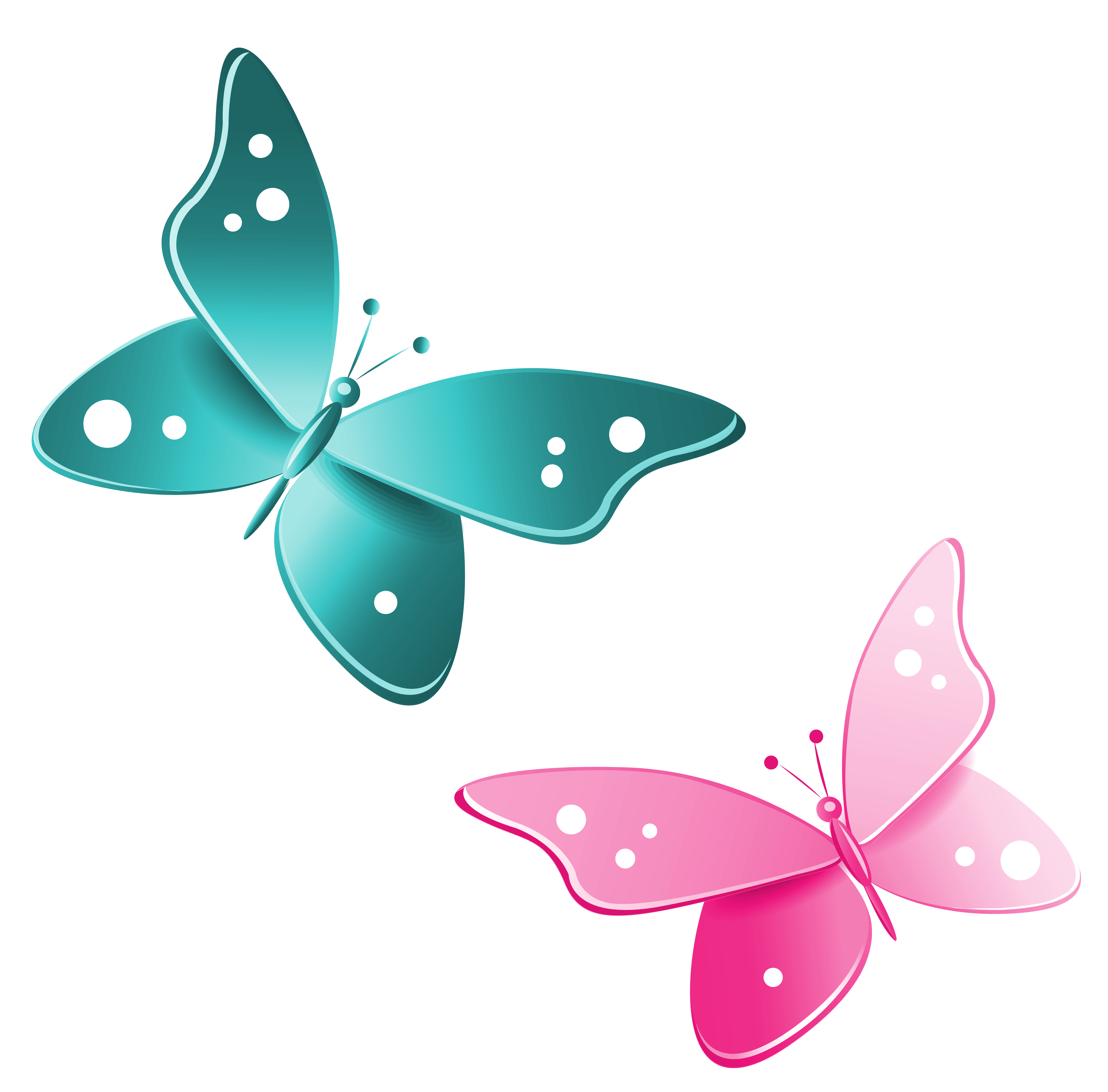 image free library Butterflies clipart banner. Blue and pink png.
