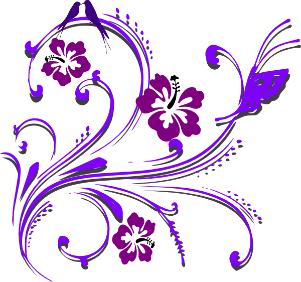 black and white library Purple butterfly scroll clip. Free wedding clipart borders