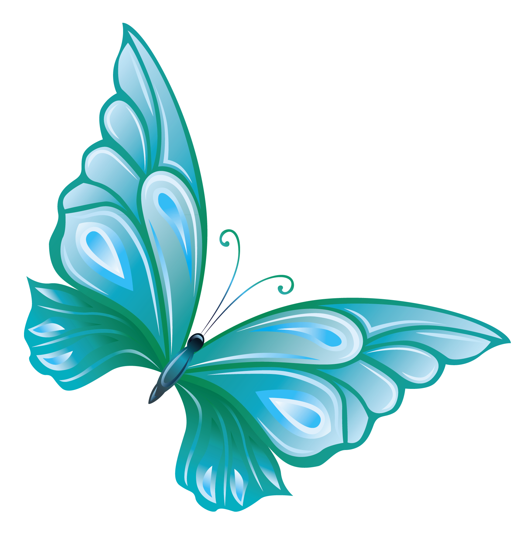 vector black and white library Transparent blue png gallery. Butterfly clipart translucent.