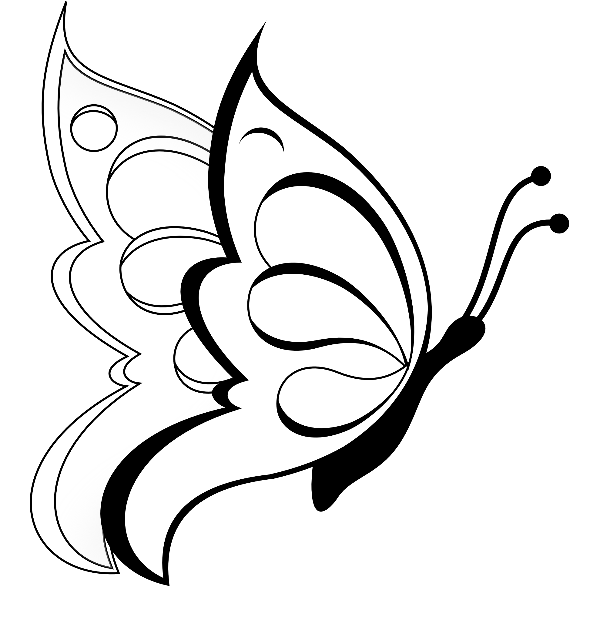 svg free Butterfly black white line. Butterflies clipart swirl.