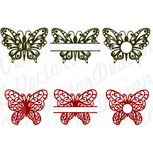 vector black and white Butterflies butterfly cut files. Filigree svg silhouette.