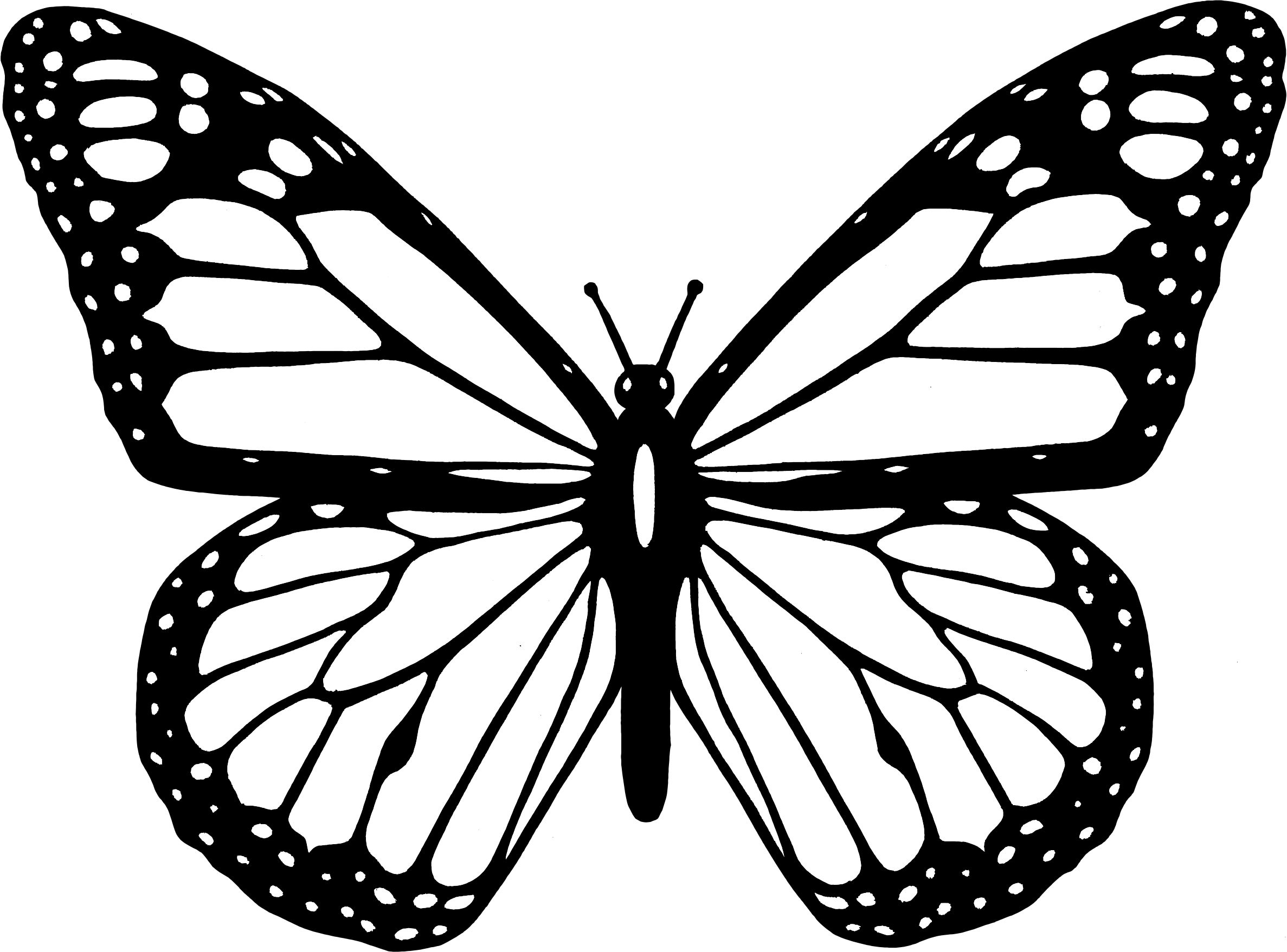 svg black and white Butterfly clipart. Black and white big