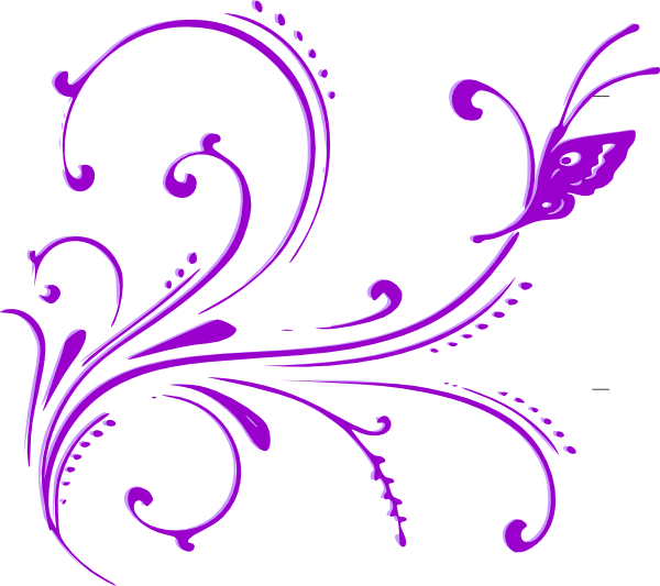 banner royalty free download Butterfly Scroll Purple