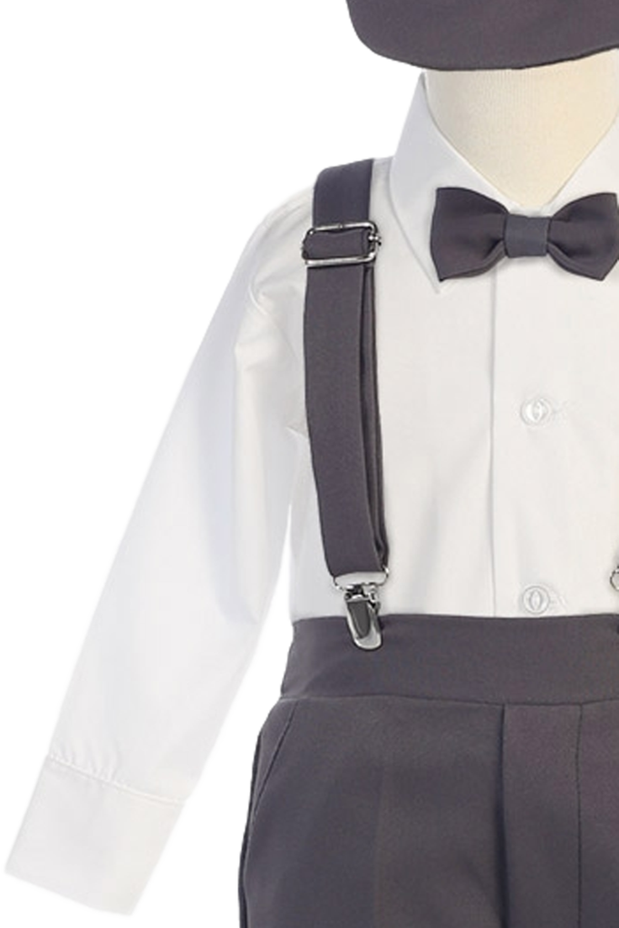 graphic library download Boys Charcoal Grey Long Sleeve Suspender Pant Set with Hat