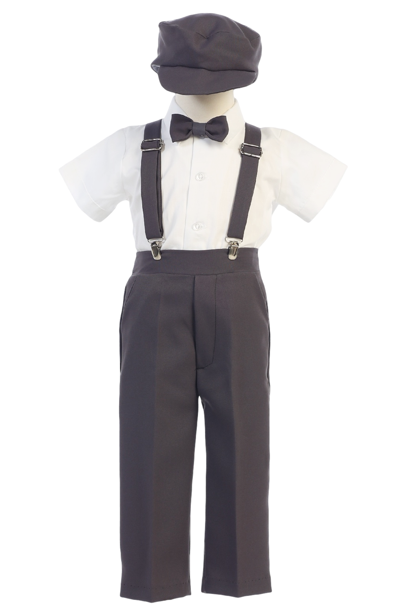 jpg library stock Boys Charcoal Grey Short Sleeve Suspender Pant Set with Hat