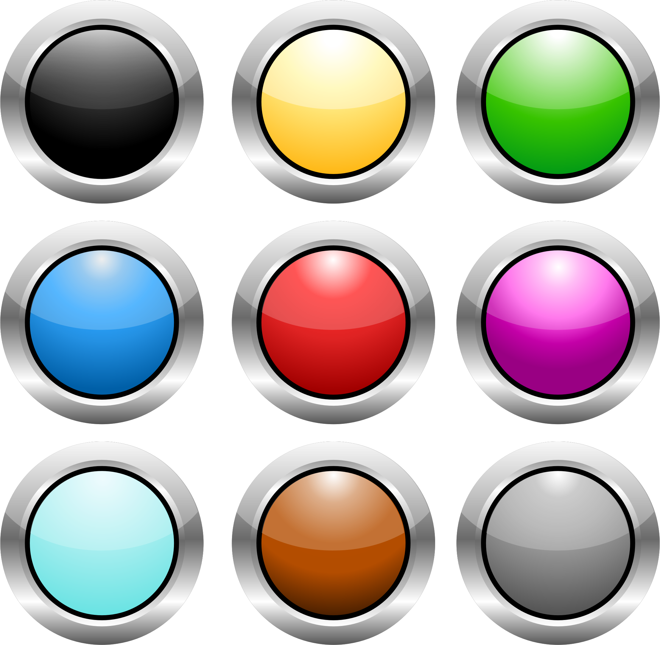 vector transparent Button clipart colored button. Circle buttons steel icons.