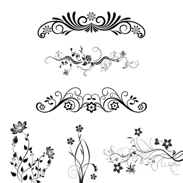 graphic black and white stock Element vector. Floral ornamental design elements