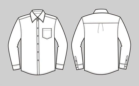 royalty free Vector button shirt. Down fashion flat sketch