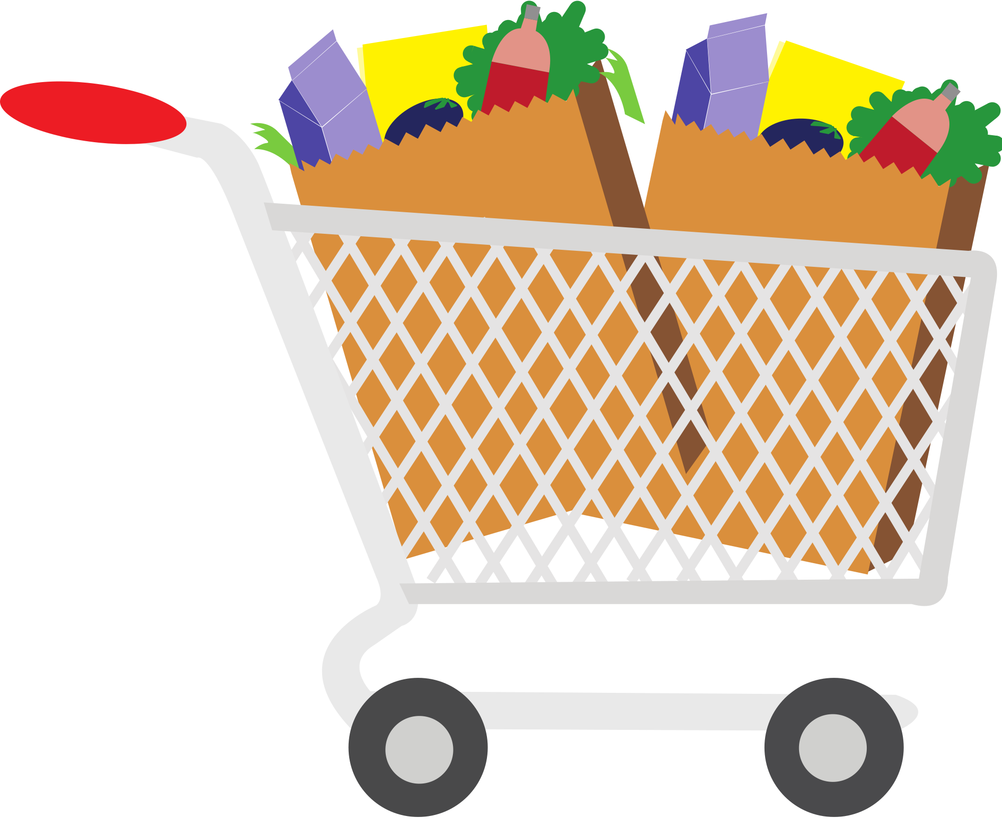clip art transparent download Grocery clipart customer shopping. File cart with food