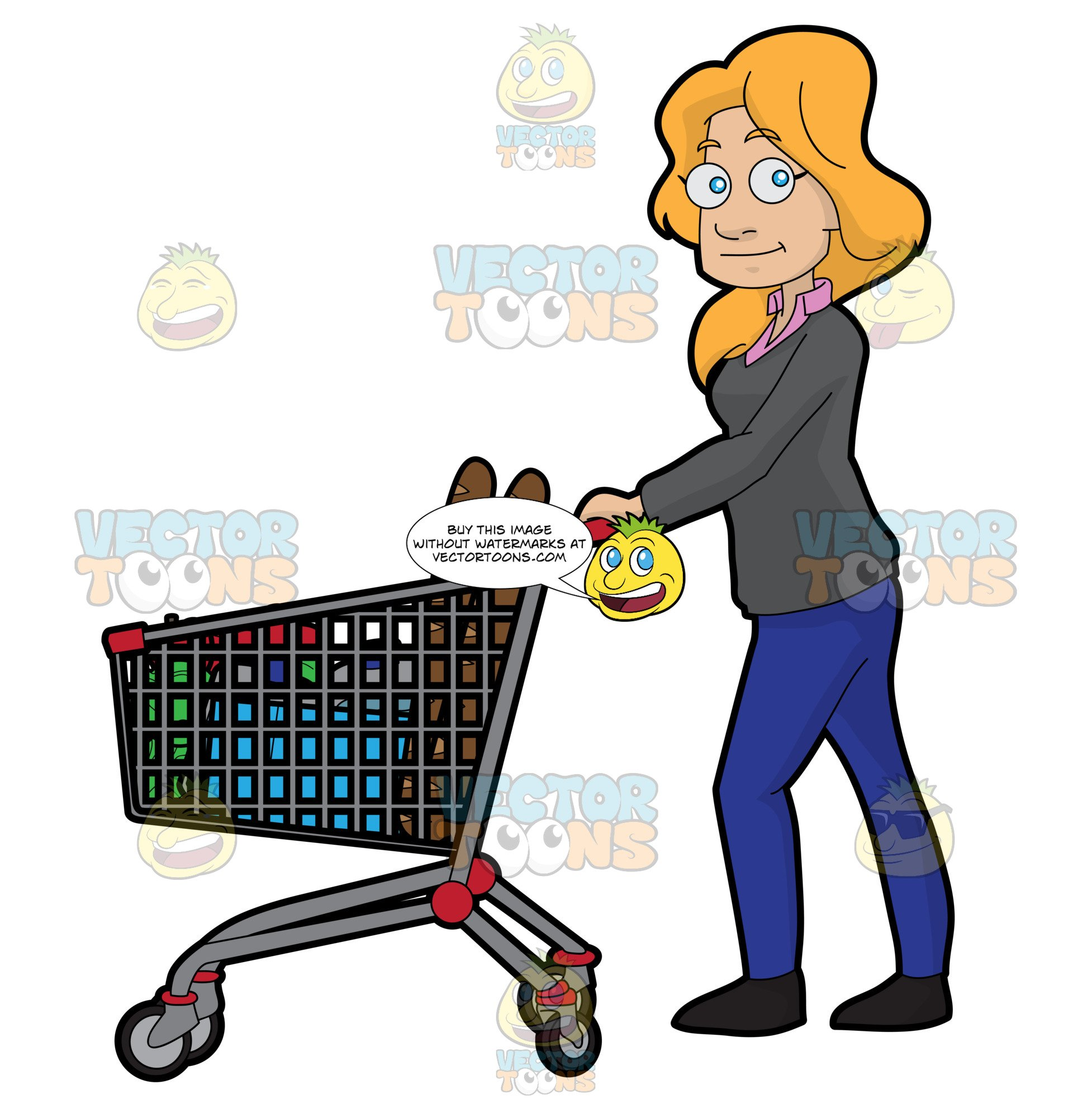 jpg royalty free library Buy clipart food shopping. A woman for in
