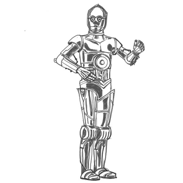 clip art royalty free C3p0 drawing. How to draw star