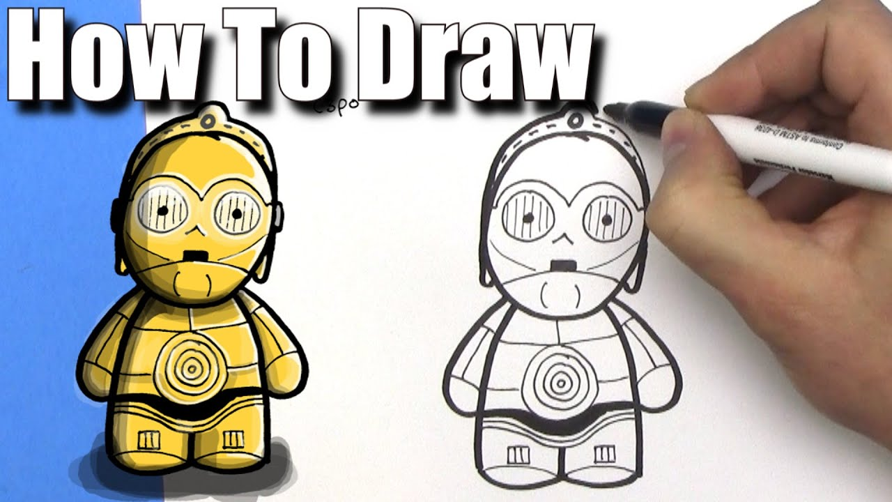 picture stock C3p0 drawing. How to draw cute