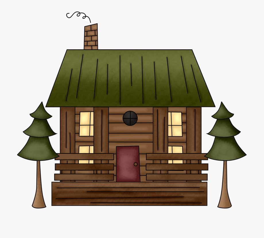 svg black and white library Cabin clipart. Pin camping in log.