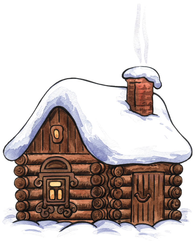 vector black and white library Winter cabin clip art. Cottage clipart medieval house