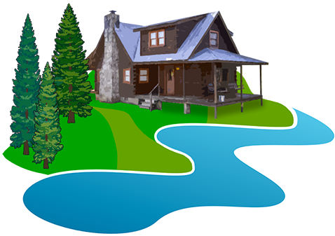png free download Rippling waters retreat townsend. Cabin clipart river house.