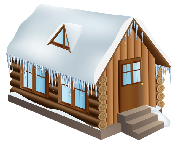 banner black and white Winter house png clip. Cabin clipart scenary.