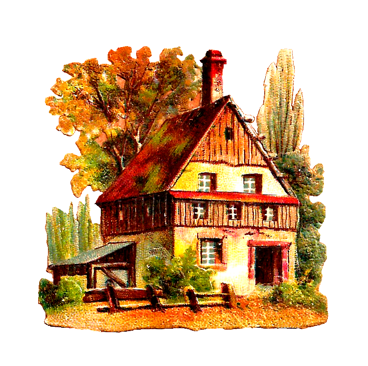 png library library Antique house png clip. Cabin clipart vintage.