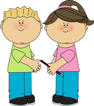 jpg library library Children clipart. School kids sharing clip