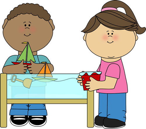 graphic library Clipart kids playing. At a water table