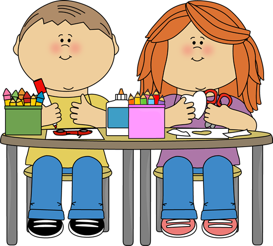 picture free Kids in art class. Center clipart classroom