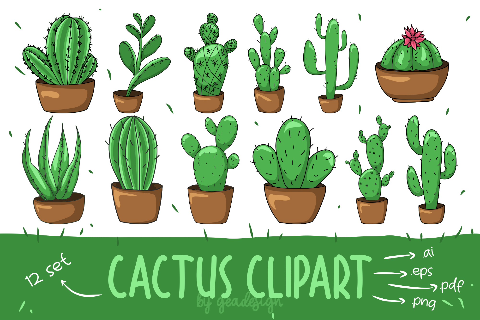 banner transparent stock Set . Cactus clipart.