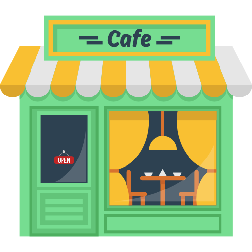 png Hot drink building coffee. Cafe shop clipart.