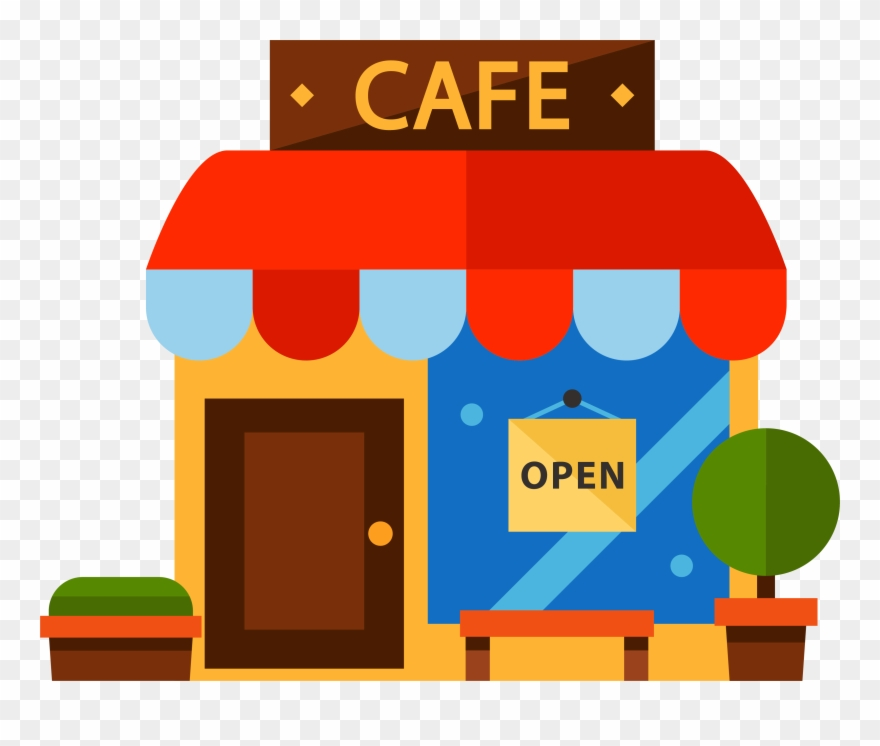 vector free stock Restaurant cartoon color transprent. Cafe clipart.