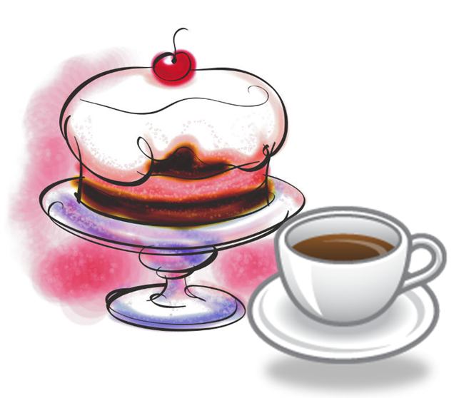 graphic black and white library Vintage art want additional. Cafe clipart coffee cake.