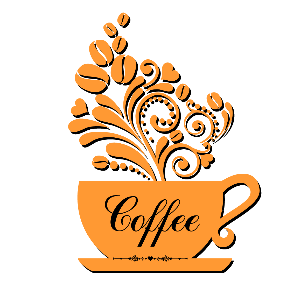 banner freeuse Vector coffee pattern. Cup cafe logo background