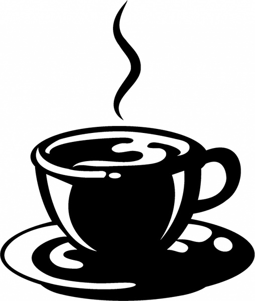 image black and white stock Cup of free in. Vector coffee black and white