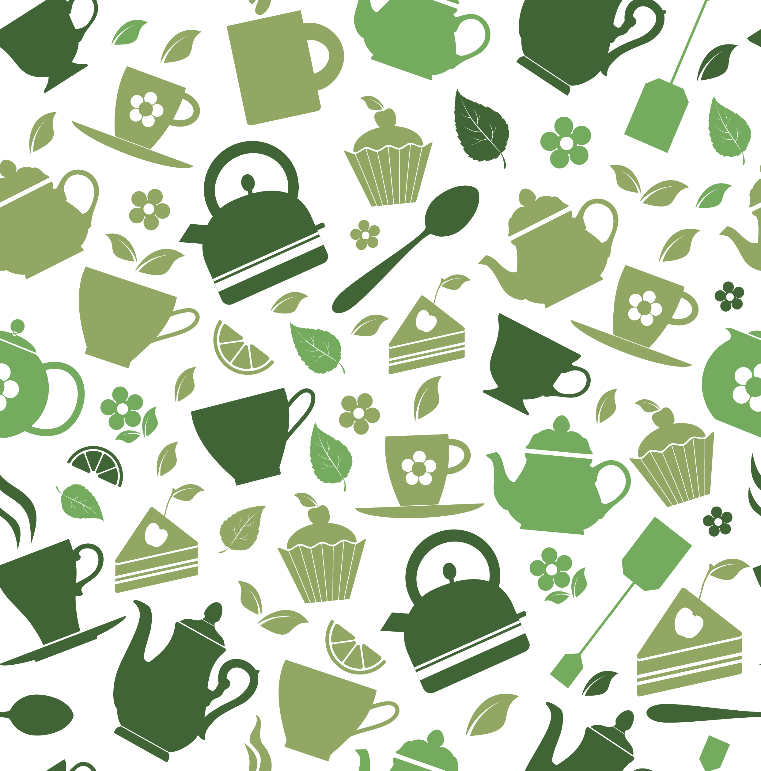 vector black and white Green tea cafe matcha. Vector coffee pattern