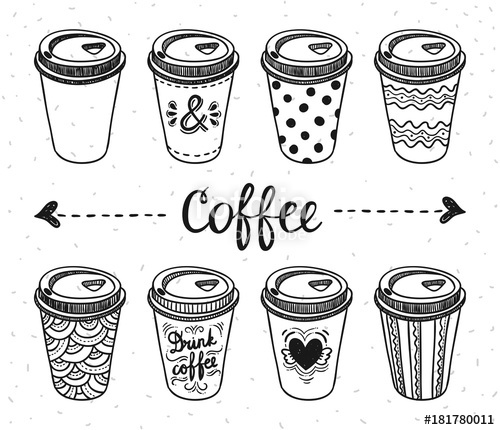 clip transparent library Vector coffee outline. Paper cups take away