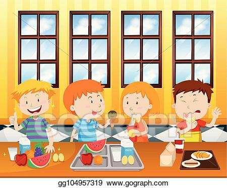 clip black and white library Vector art children eating. Cafeteria clipart.