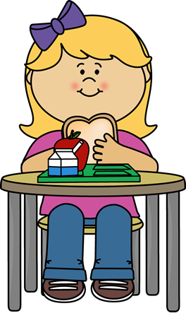 banner black and white library Girl eating cafeteria lunch. Craft clipart elementary art