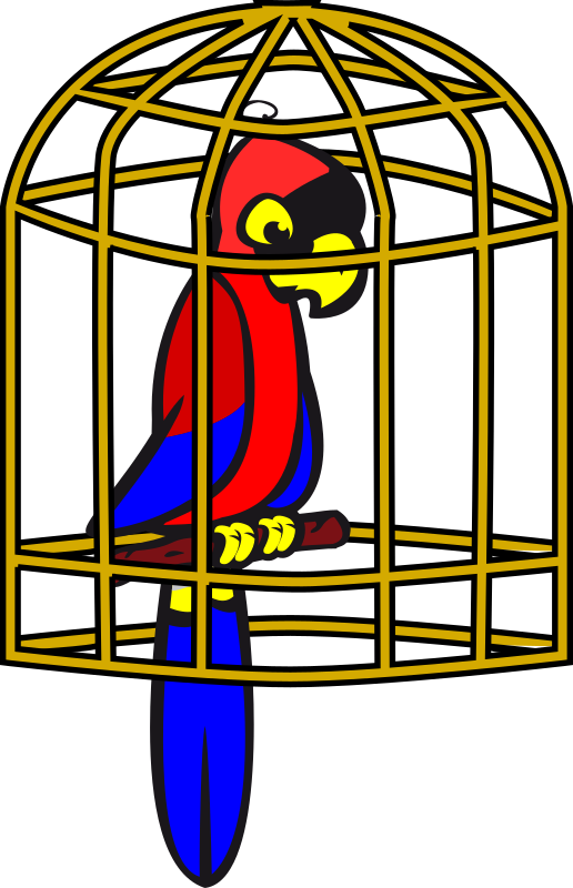 clip freeuse stock Cage clipart. Parrot in a medium.