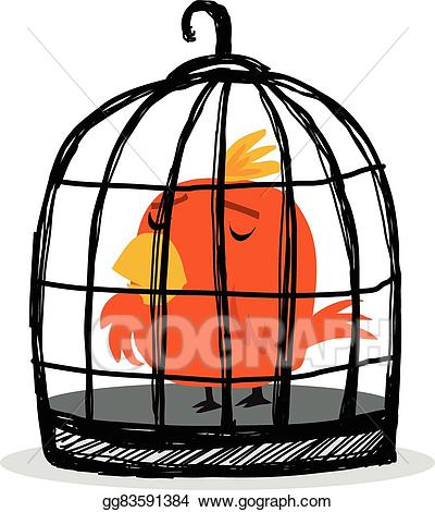 picture library stock Vector art bird in. Cage clipart sad.