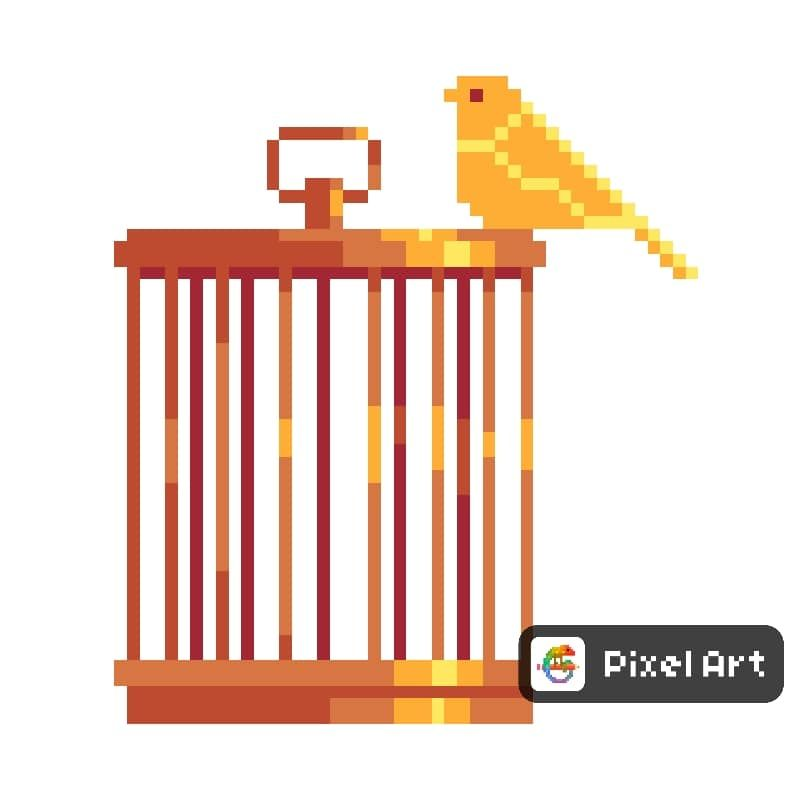 svg free download Bird and its art. Cage drawing pixel