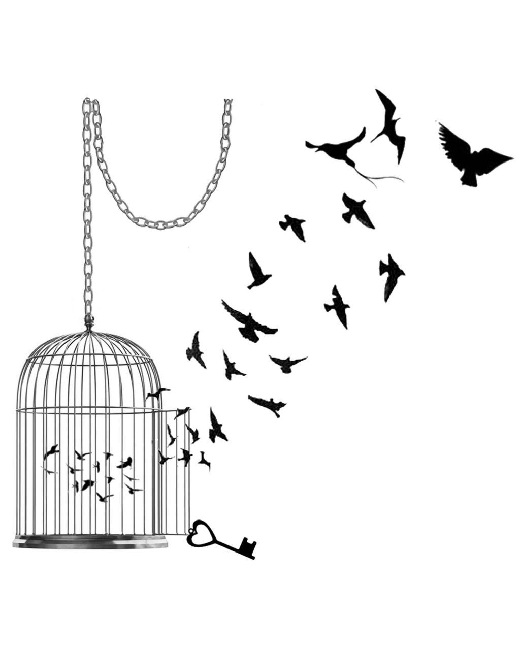svg black and white stock Inkwear bird tattoo love. Cage drawing pixel