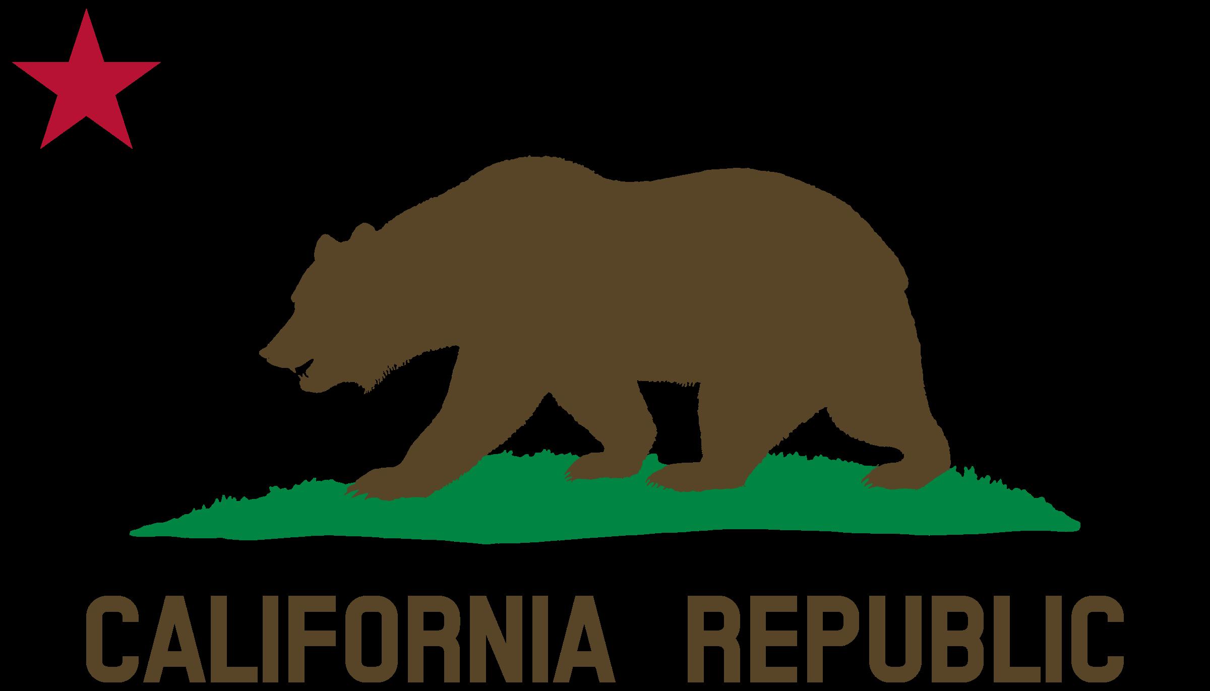 graphic black and white California clipart symbol california. Flag of bear star.