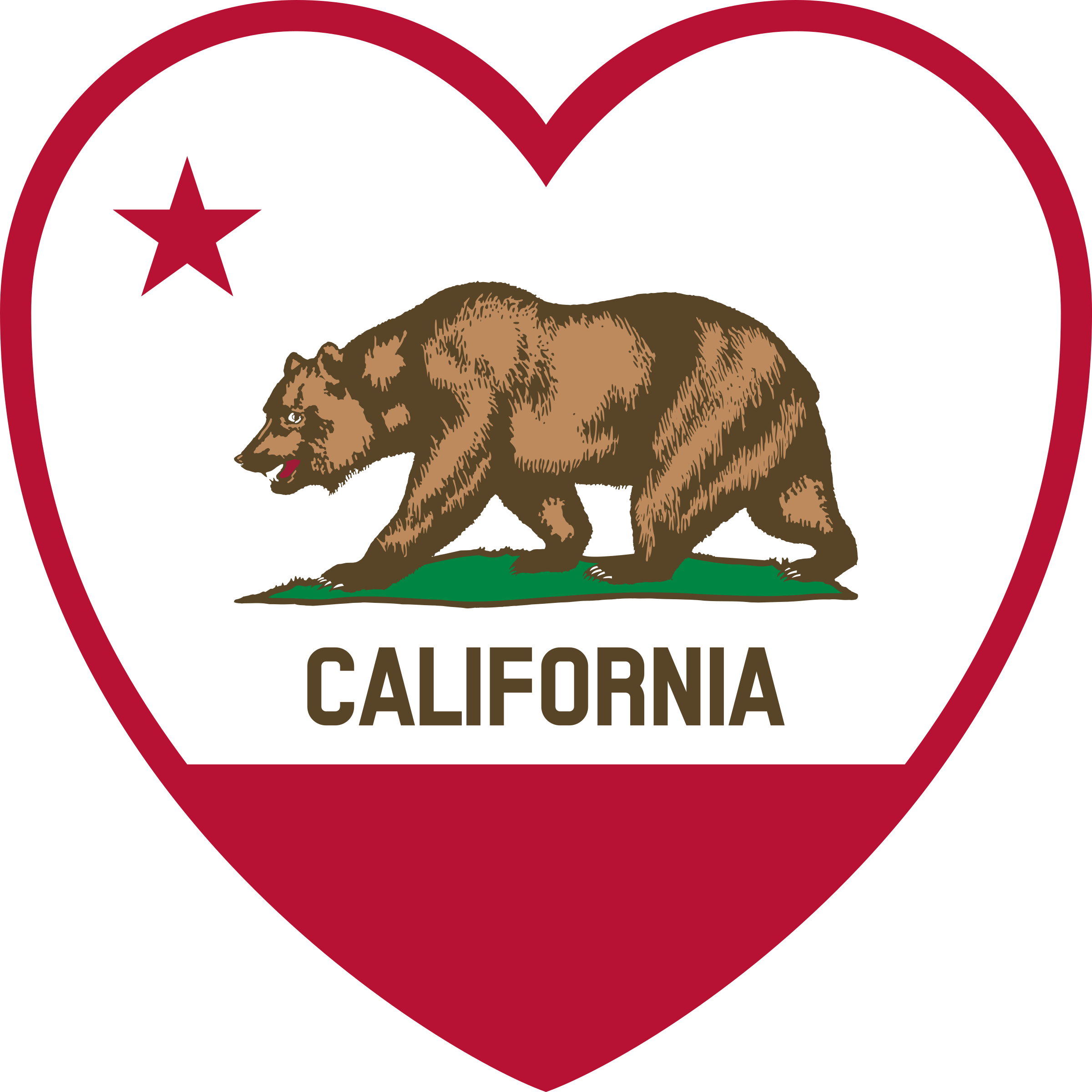 clip library library Flag heart big image. California clipart symbol california.