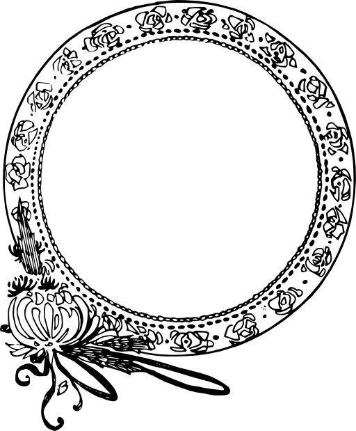 vector black and white download Art Nouveau Circle Drawing