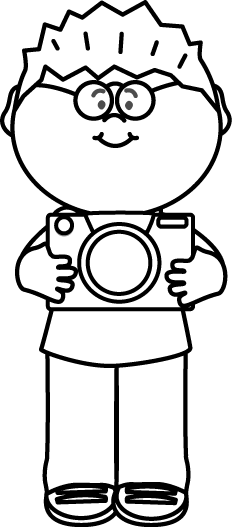 picture freeuse With camera painting colouring. Boy black and white clipart