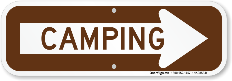 graphic black and white Camping signs design graphica. Camp clipart arrow.