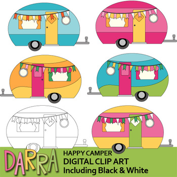 clip library stock Camper clipart. Happy cute camping caravan